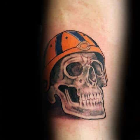 Skull With Chicago Bears Football Helmet Guys Tattoo Ideas On Inner Forearm
