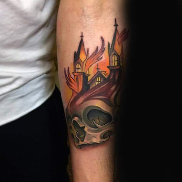Skull With Church New School Fire Tattoos For Men