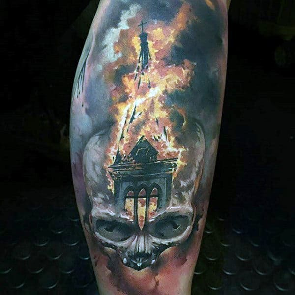 Skull With Church Roof Mens Fire Tattoos On Leg