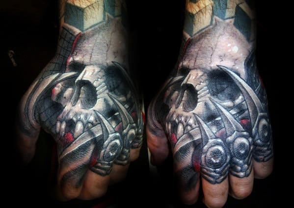 Skull With Claws Guys 3d Hand Tattoo