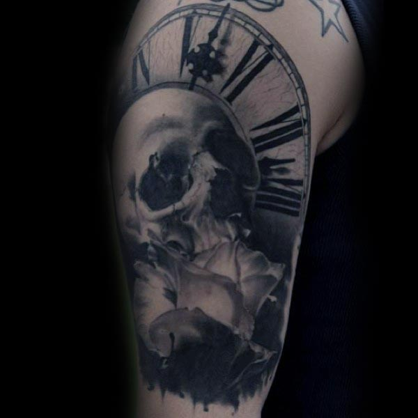 Skull With Clock And Rose Flower Guys Cool Arm Tattoo