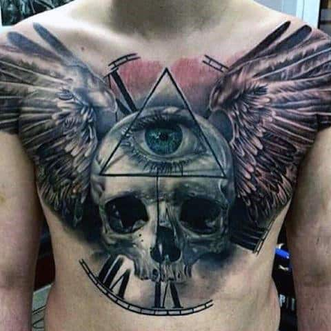 Skull With Clock And Wings Male Chest Tattoo