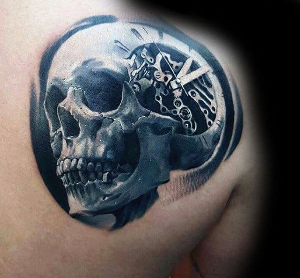Skull With Clock Gears Guys Shoulder 3d Tattoo