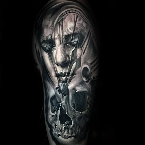Skull With Clock Half Sleeve Remarkable Morph Tattoos For Males