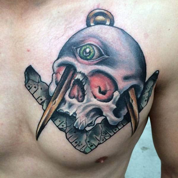 Skull With Compass And Square Upper Chest Masonic Male Tattoos