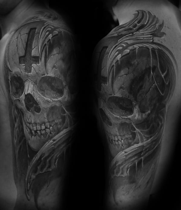 Skull With Cross Guys 3d Shaded Arm Tattoo