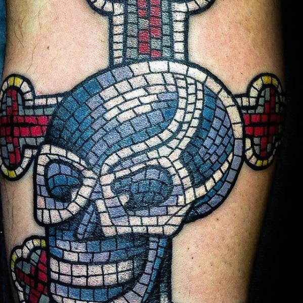 Skull With Cross Mosaic Arm Tattoo Ideas For Males