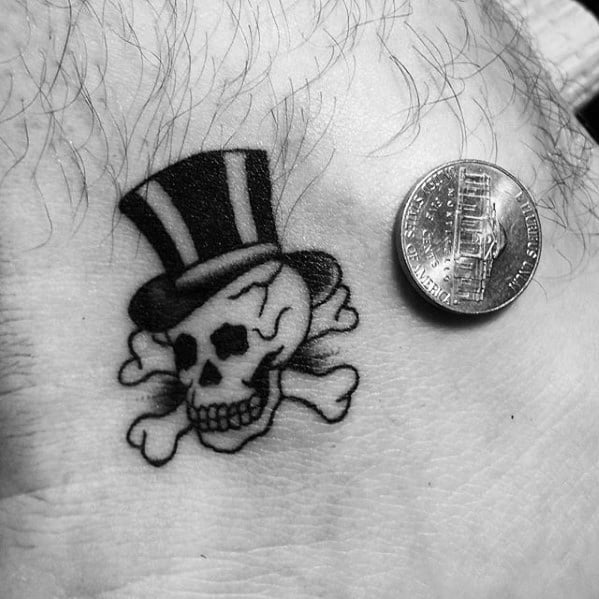 Skull With Crossbones And Top Hat Ankle Tattoos Guys