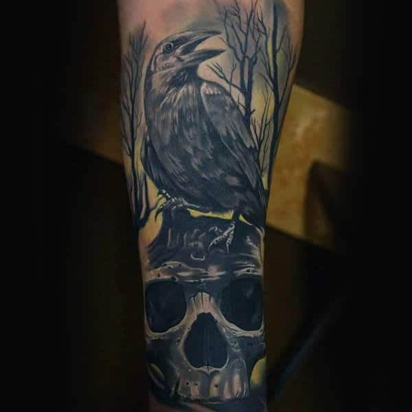 Skull With Crow In Woods Forearm Tattoos For Guys
