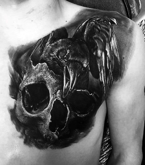 Skull With Crow Unique Chest 3d Mens Tattoos