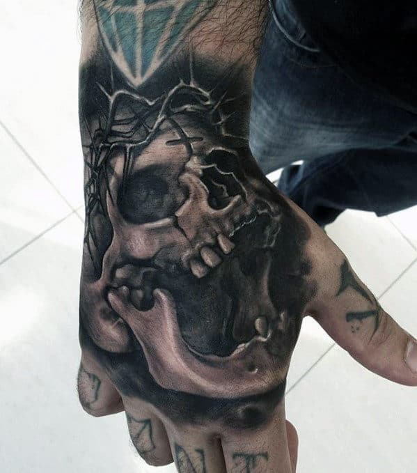 Skull With Crown Of Thorns Guys Badass Hand Tattoo
