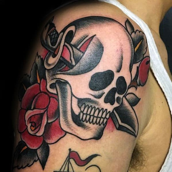 Skull With Dagger And Flower Mens Traditional Upper Arm Tattoo
