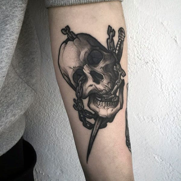 Skull With Dagger Creative Shaded Male Forearm Tattoos