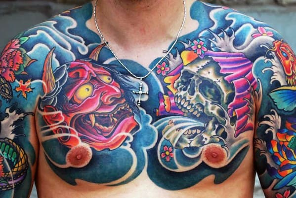 Skull With Demon Mask Japanese Chest Tattoos For Men
