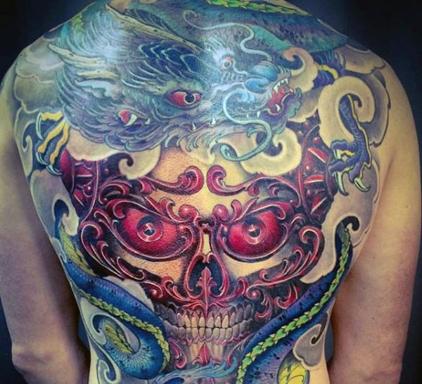 Skull With Dragon Guys Full Back Tattoos