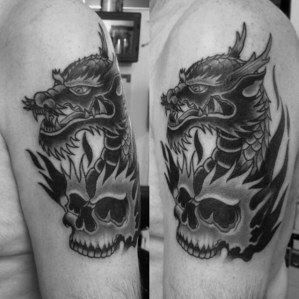 Skull With Dragon Guys Traditional Upper Arm Tattoos