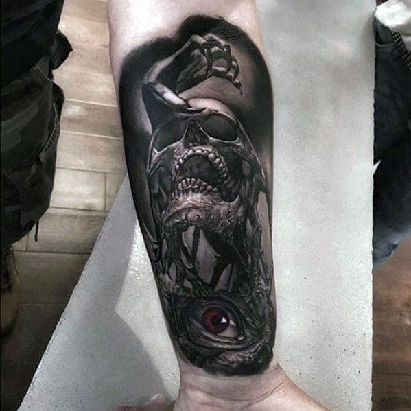Skull With Eye And Hadn Guys Hyper Realistic Inner Forearm Tattoos