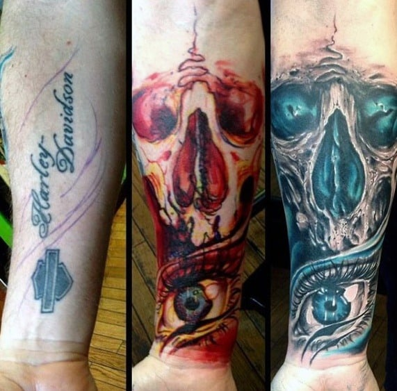Skull With Eye Forearm Sleeve Tattoo Cover Up Ideas For Men