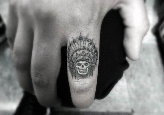 Skull With Feather Head Guys Small Tattoo On Hands