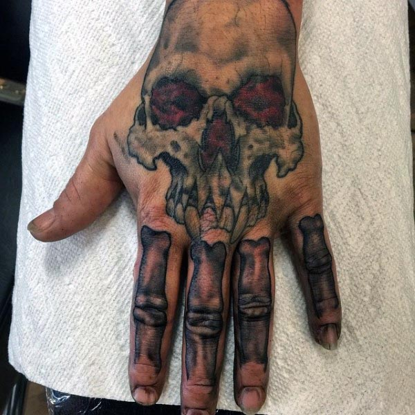 Skull With Finger Bones Mens Hand Tattoo