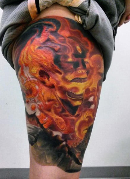 Skull With Flames Tattoo For Men