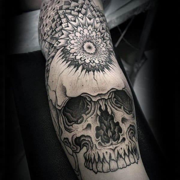 Skull With Floral Pattern Tattoo Male Sleeves