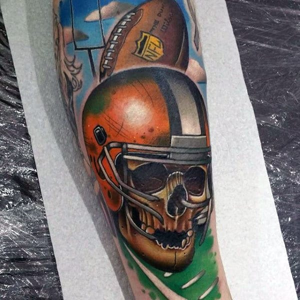 Skull With Football Helemet Mens Sleeve Tattoos