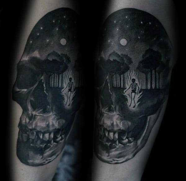 Skull With Forest Night Sky Mens Detailed Forearm Tattoo