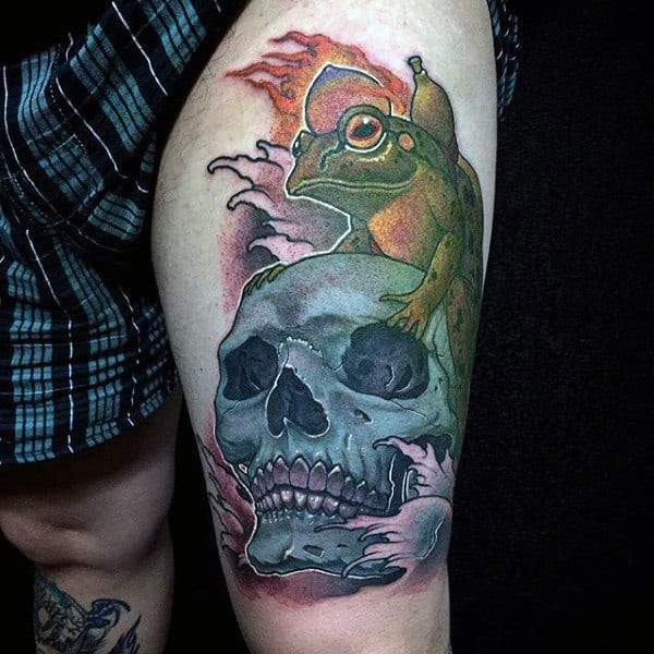 Skull With Frog Mens Thigh Tattoos