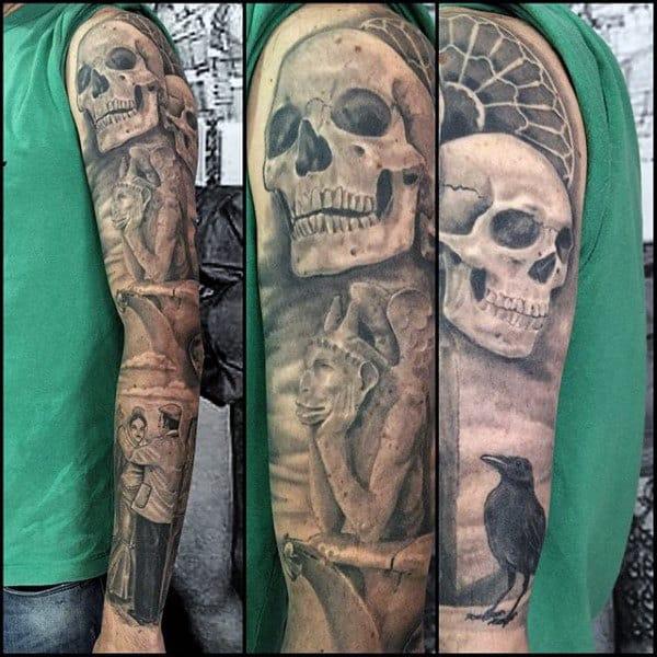 Skull With Gargoyle Mens Stone Full Sleeve Tattoos
