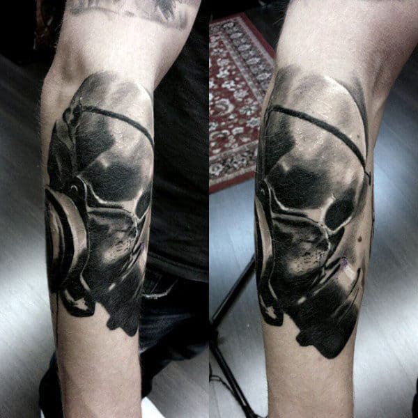 Skull With Gas Mask Tattoo For Men