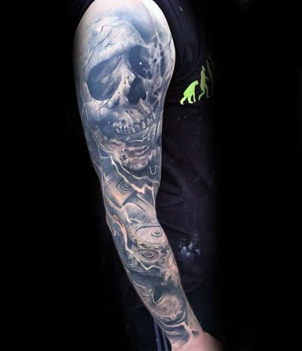 Skull With Gears Guys Sweet Full Sleeve Tattoo Design Ideas