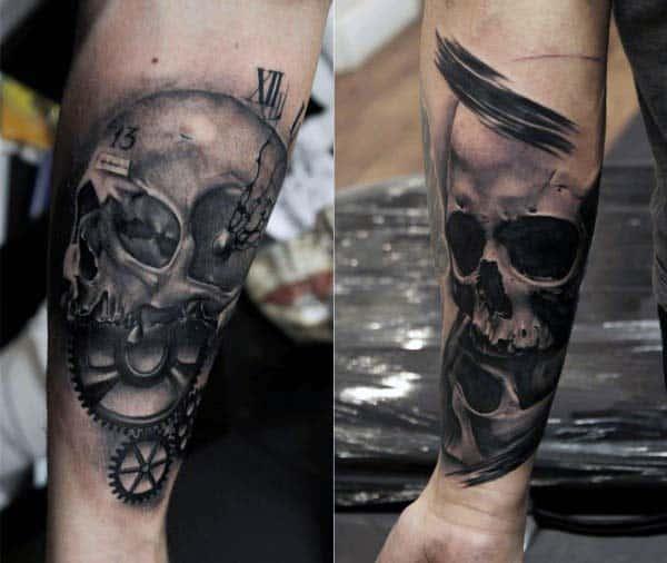 Skull With Gears Nice Guys Forearm Tattoo