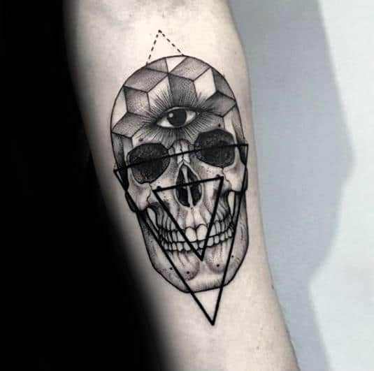 Skull With Geometric Design Eye Of Providence Guys Forearm Tattoo