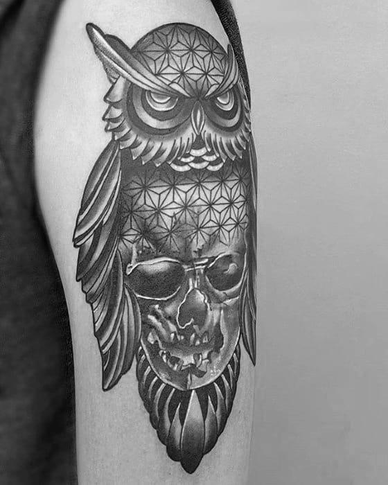 Skull With Geometric Owl Mens Arm Tattoos