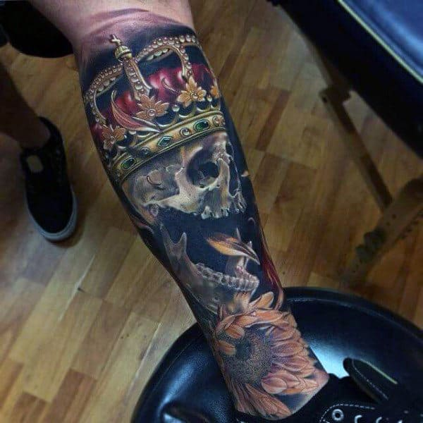 Skull With Glorious Crown Tattoo On Forearms For Guys