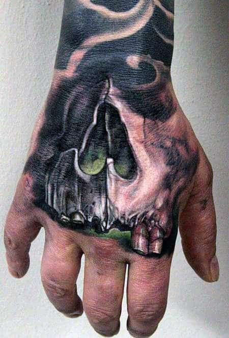 Skull With Glowing Green Background Mens Badass Tattoo On Hand