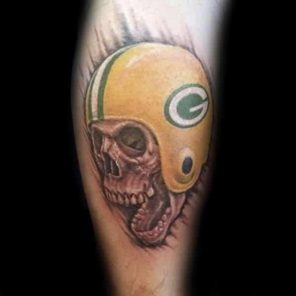 Skull With Green Bay Packers Football Helmet Mens Leg Tattoo