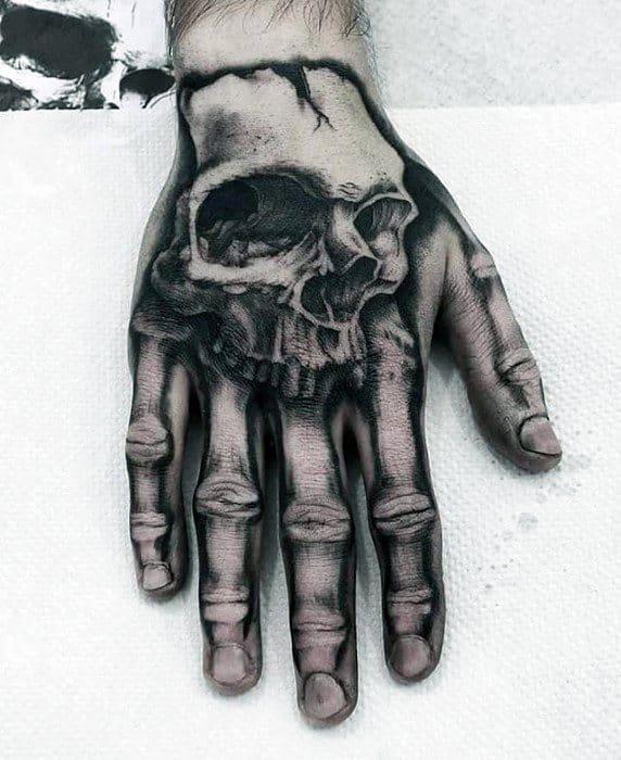 Skull With Hand Bones Guys Unique Hand Tattoos
