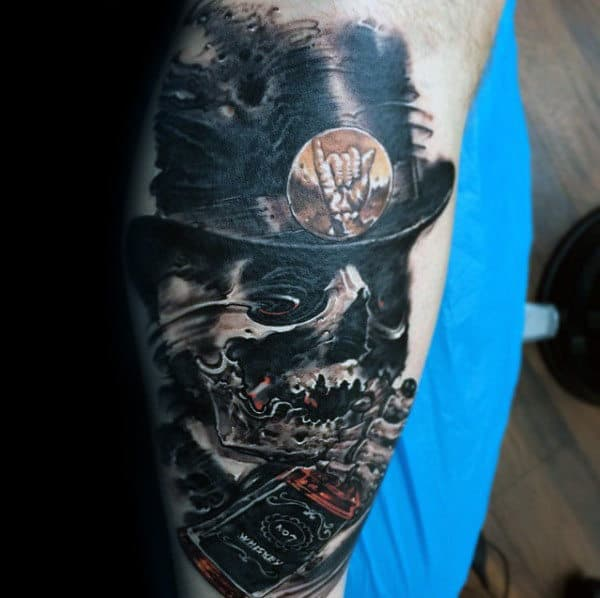 Skull With Hat And Jack Daniels Bottle Mens Leg Tattoo
