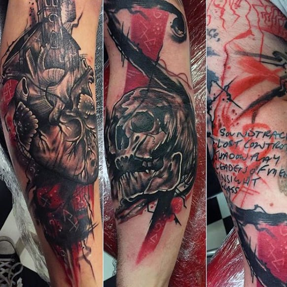 Skull With Heart Trash Polka Mens Leg Tattoo Designs