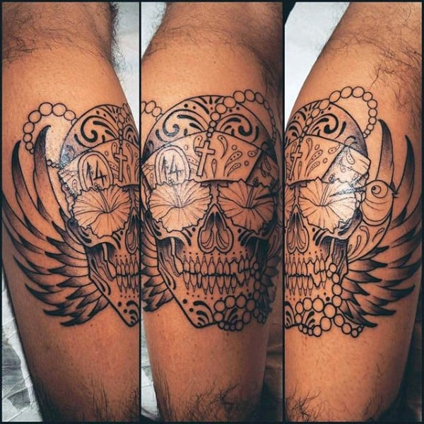 Skull With Hibiscus Flower Eyes Mens Leg Calf Tattoo