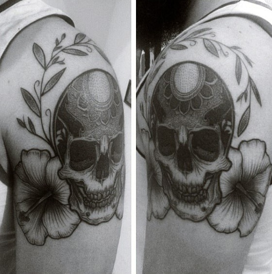 Skull With Hibiscus Flowers Mens Upper Arm Tattoos