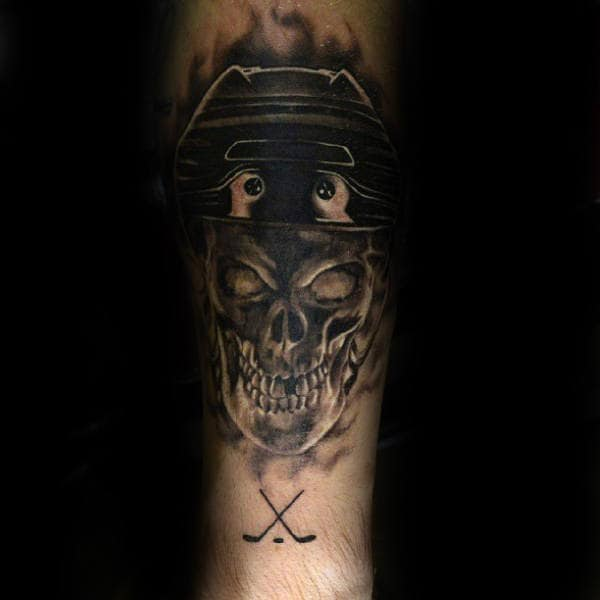 Skull With Hockey Sticks Guys Forearm Shaded Dark Ink Tattoo