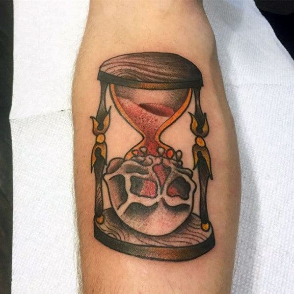 Skull With Hourglass Guys Traditional Inner Forearm Tattoo