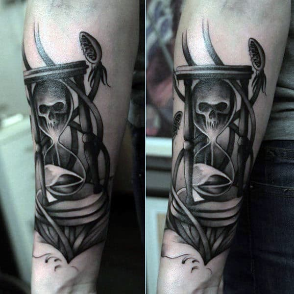 Skull With Hourglass Sand Tattoo For Men