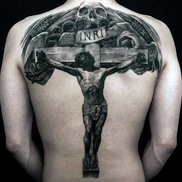 Skull With Jesus On Wood Cross Mens Back Tattoo