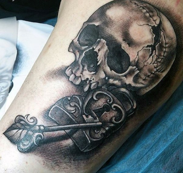Skull With Key And Clock Mens Tattoo On Bicep
