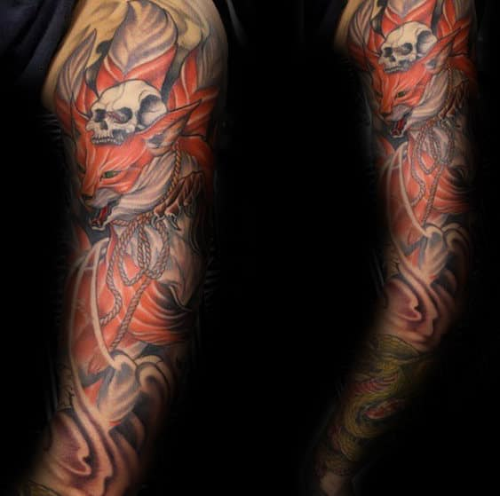 Skull With Kitsune Fox Shaded Mens Full Arm Tattoo Designs