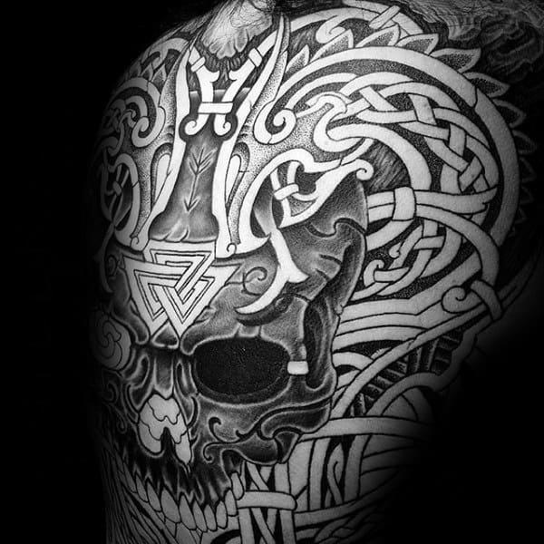 Skull With Knots Mens Valknut Full Back Tattoos